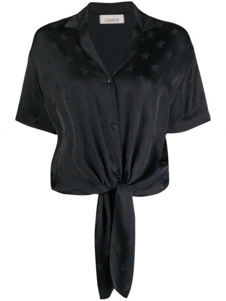 Черная рубашка с короткими рукавами с воротником Laneus