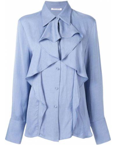 Свободная синяя рубашка на пуговицах с оборками Bianca Spender