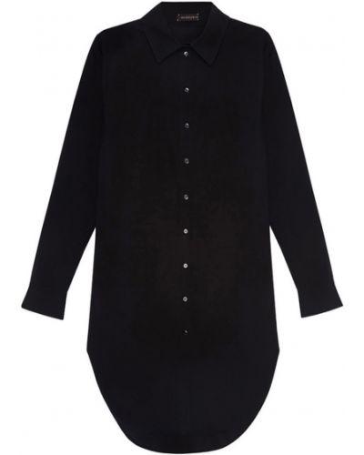 Хлопковая черная классическая рубашка с воротником Chapurin