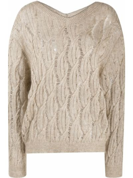 С рукавами коричневый длинный свитер с вырезом Brunello Cucinelli