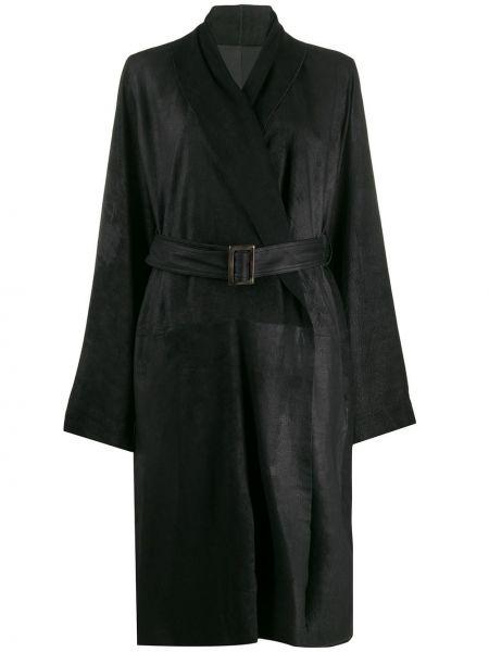 Długi płaszcz skórzany z klapą Rick Owens