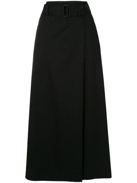 Черная юбка макси с поясом Tomorrowland