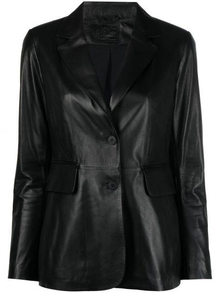 Однобортный черный кожаный удлиненный пиджак Desa 1972