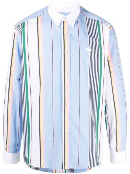 Niebieska klasyczna koszula bawełniana w paski Lacoste Live