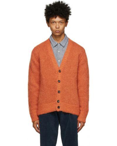 С рукавами оранжевый кардиган с воротником из мохера Doppiaa