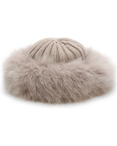 Вязаная шапка с мехом из лисы Nima