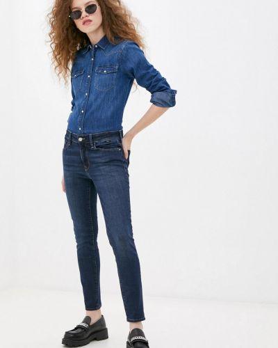 Хлопковые синие зауженные джинсы Mavi