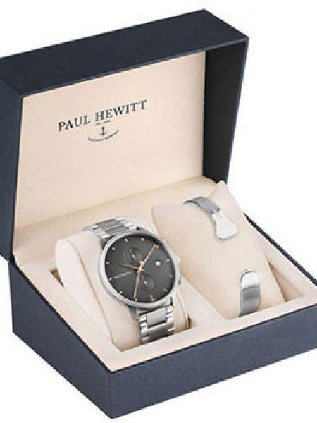 Со стрелками черные часы водонепроницаемые круглые Paul Hewitt