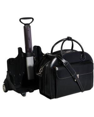 Klasyczna czarna torba podróżna skórzana Mcklein