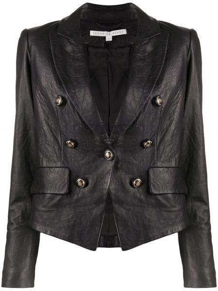Черная кожаная длинная куртка двубортная Veronica Beard