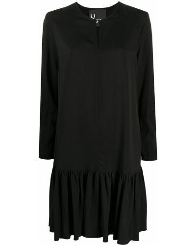 Черное расклешенное платье со вставками с вырезом 8pm