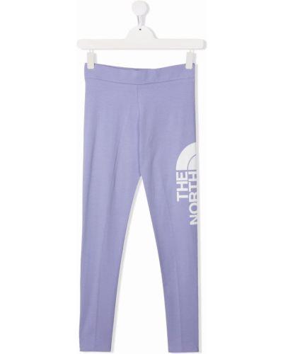Fioletowe legginsy bawełniane z printem The North Face Kids
