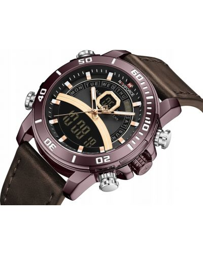 Czarny zegarek sportowy skórzany Naviforce