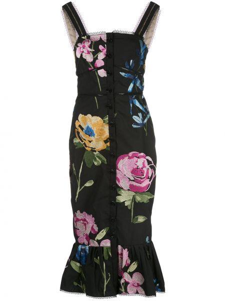 Приталенное черное платье миди без рукавов Marchesa