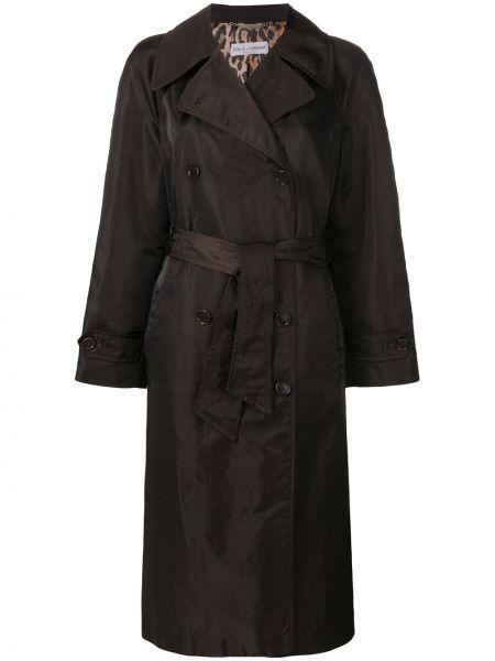 Прямое свободное пальто с поясом на пуговицах Dolce & Gabbana Pre-owned
