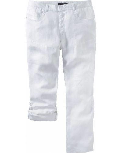 Прямые брюки льняные с карманами Bonprix