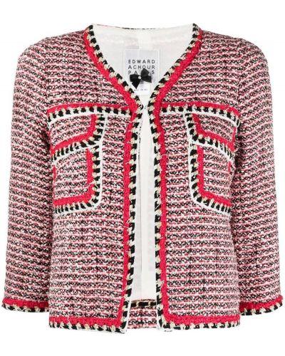 Красный пиджак твидовый с вырезом Edward Achour Paris