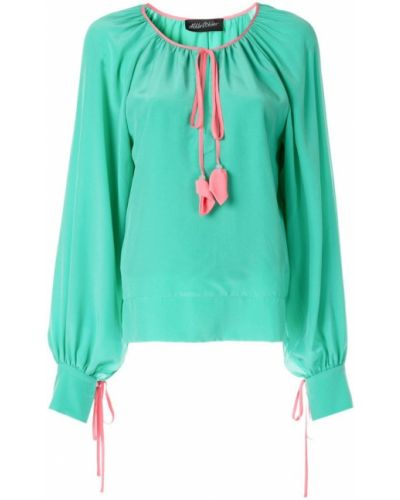 Блузка с рюшами - зеленая Anna October