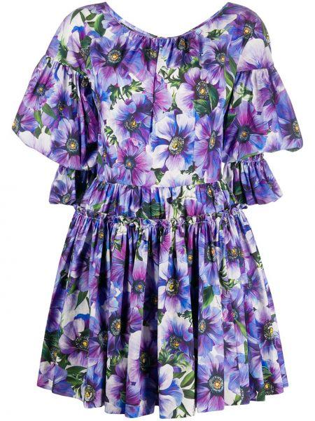Фиолетовое платье мини с вырезом с оборками Dolce & Gabbana