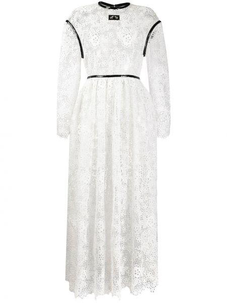 Sukienka koronkowa z długimi rękawami - biała Christopher Kane