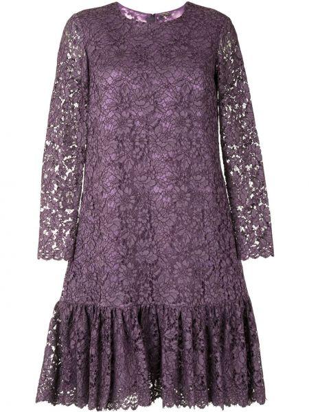 Нейлоновое фиолетовое платье макси с длинными рукавами с круглым вырезом Adam Lippes