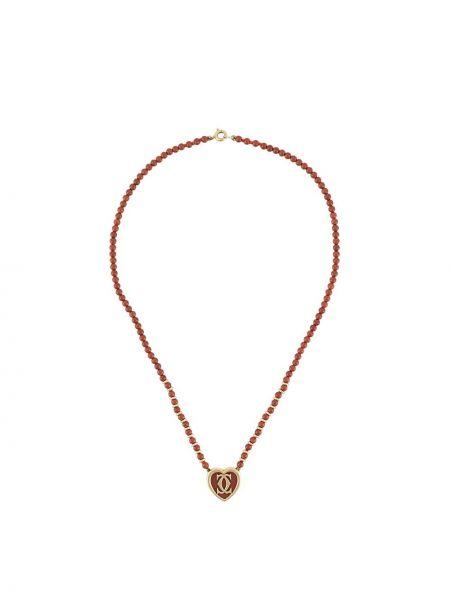 Ожерелье с бисером - красное Cartier