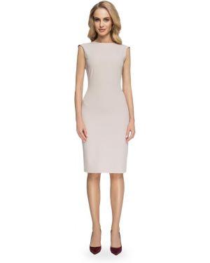 Beżowa sukienka z wiskozy bez rękawów Stylove