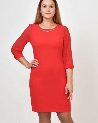 Повседневное платье красный осеннее Kontaly