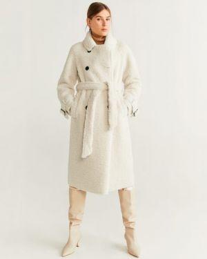 Длинное пальто из овчины с воротником Mango