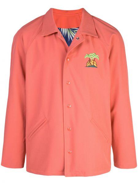 Różowa kurtka z haftem bawełniana Just Don