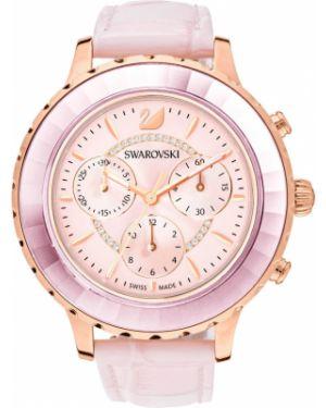 Водонепроницаемые часы на кожаном ремешке розовый Swarovski