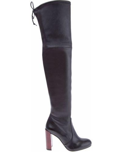 Кожаные сапоги черные на каблуке Stuart Weitzman