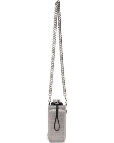 Czarna torebka na łańcuszku z siateczką srebrna Kara