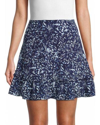 Расклешенная шелковая белая юбка мини Nicole Miller