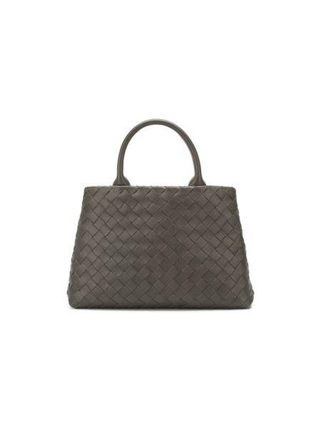 Деловая кожаная серая сумка-тоут Bottega Veneta