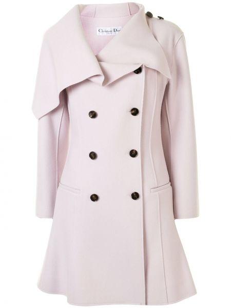 Wełniany długi płaszcz z kieszeniami z klapami z długimi rękawami Christian Dior