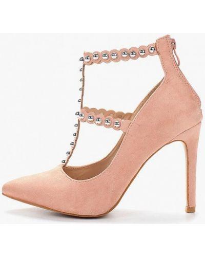 Туфли на каблуке велюровые розовый Fersini