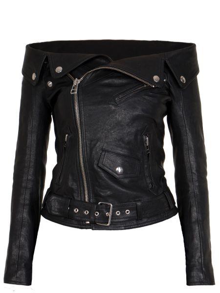 Черная кожаная куртка на молнии с поясом с вырезом Faith Connexion