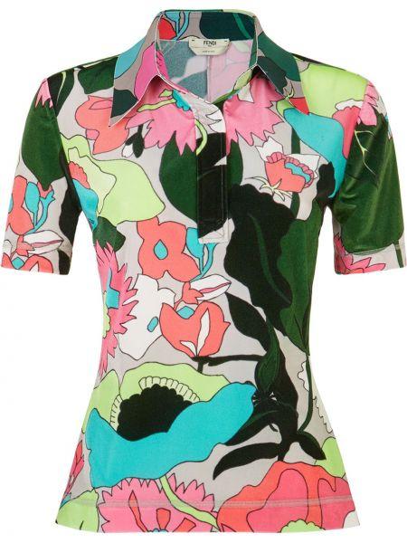 С рукавами зеленая прямая классическая рубашка с воротником Fendi