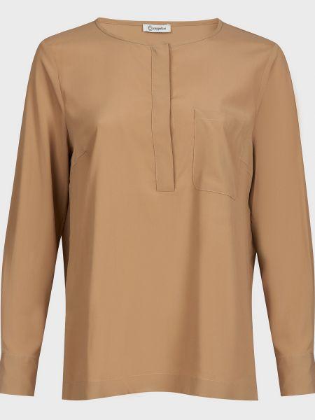 Коричневая шелковая блузка на пуговицах Cappellini