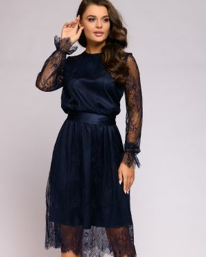 Коктейльное платье на пуговицах с поясом 1001 Dress