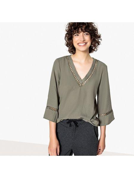 Блузка с длинным рукавом с V-образным вырезом прямая Only