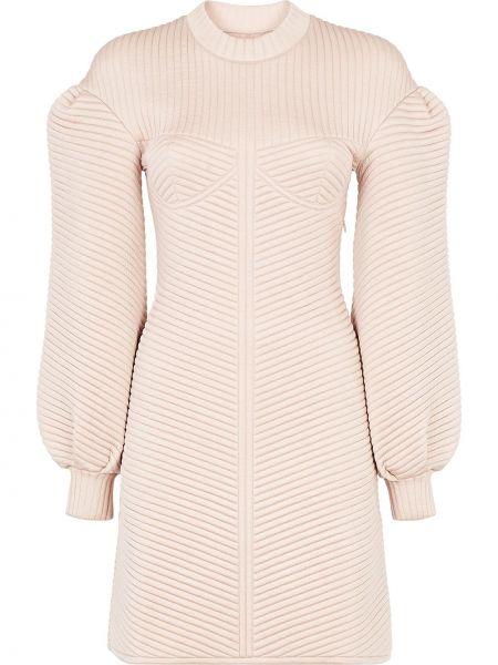 Приталенное стеганое прямое платье мини с вырезом Fendi