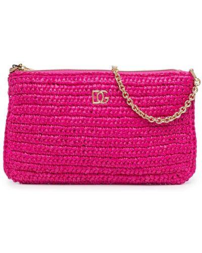 С ремешком розовая косметичка из вискозы Dolce & Gabbana Kids
