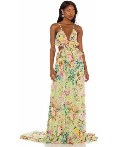 Вечернее платье с вышивкой - зеленое Rococo Sand