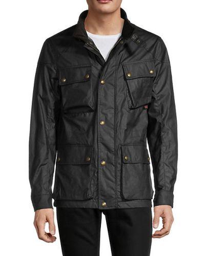 Czarna długa kurtka bawełniana z długimi rękawami Belstaff