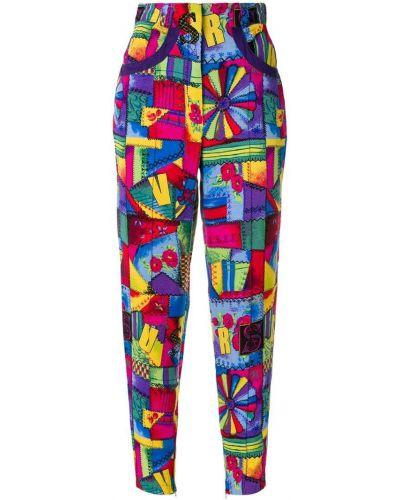 Укороченные брюки винтажные с поясом с манжетами узкого кроя Versus Pre-owned