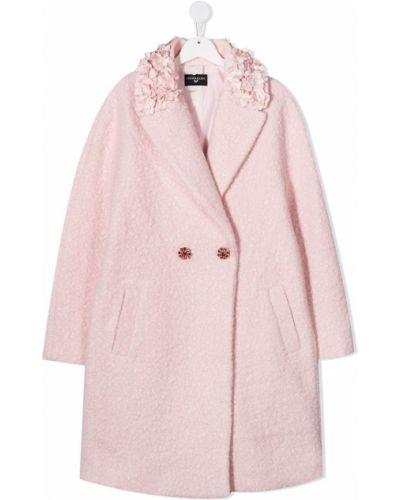 С рукавами флисовое розовое длинное пальто на пуговицах Monnalisa