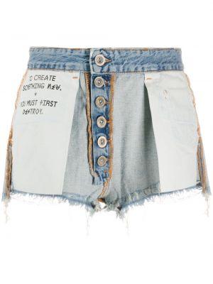 Хлопковые синие короткие шорты на пуговицах с надписью Unravel Project