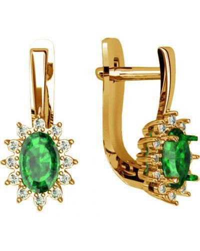 Золотые серьги с бриллиантом c сапфиром ювелирные традиции